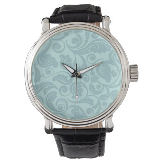 Floral Teal Pattern Leather Watch