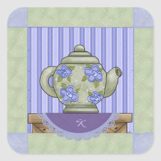Floral Teapot Quilt Square Sticker