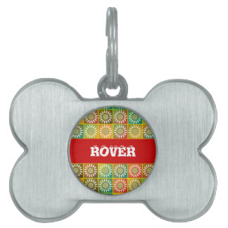 Floral tessellation pet tag