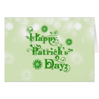 Floral Text Green Happy St. Patrick's Day 2 Greeting Card