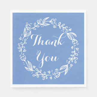 Floral Thank You Blue Cornflower Flowers Wreath Disposable Napkins