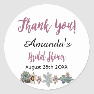 Floral thank you bridal shower white pink burgundy classic round sticker