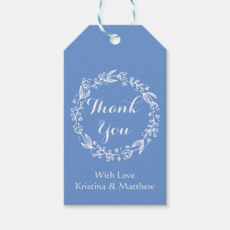 Floral Thank You Cornflower Blue Flowers Wedding Gift Tags