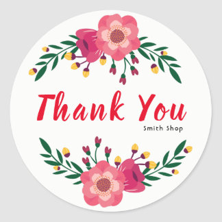 Floral Thank You Custom Name Business Thanksgiving Classic Round Sticker
