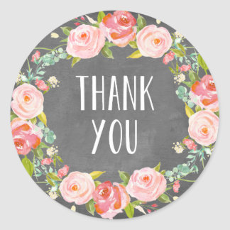 Floral Thank You | Favor Label Round Sticker