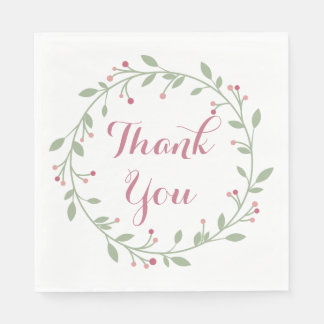Floral Thank You Green Leaf And Pink Wreath Paper Napkins