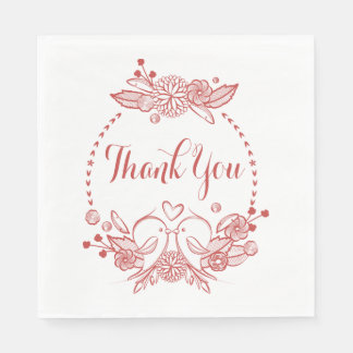 Floral Thank You Lovebirds Burgundy Wedding Paper Napkin