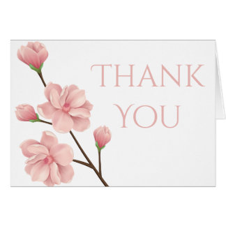 Floral Thank You Pink Cherry Blossom Flower Party Card