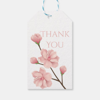 Floral Thank You Pink Cherry Blossom Flower Party Gift Tags