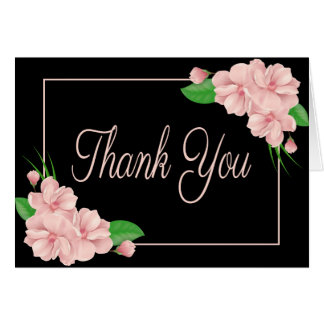 Floral Thank You Pink Flowers Black Wedding Party Card