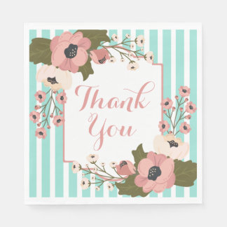 Floral Thank You Pink Flowers Mint Stripes Wedding Disposable Napkins