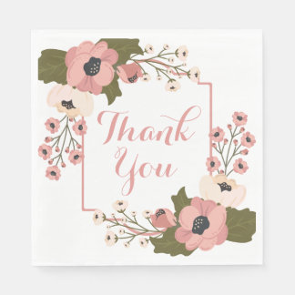 Floral Thank You Pink Flowers  Wedding Disposable Napkin