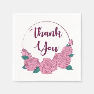 Floral Thank You Pink Lavender Rose Flowers Purple Paper Napkins