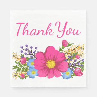 Floral Thank You Pink Magenta Watercolor Flowers Paper Napkins