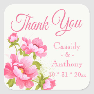 Floral Thank You Pink Peony Flower Wedding Peonies Square Sticker