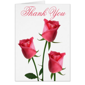 Floral Thank You Pink Rose Flowers Card
