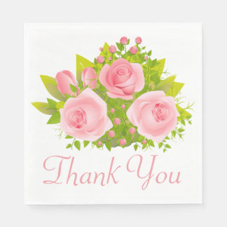 Floral Thank You Pink Rose Flowers Wedding Paper Napkin
