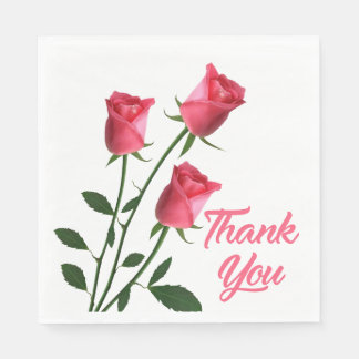 Floral Thank You Pink Rose Flowers Wedding / Party Napkin