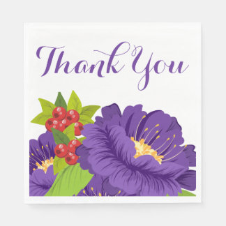 Floral Thank You Purple Flowers Wedding Party Disposable Napkins