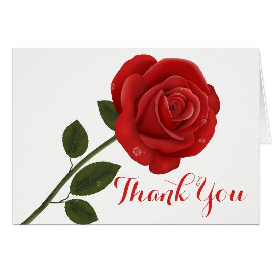 Floral Thank You Red Rose Flower - Wedding Party Card