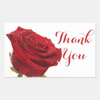 Floral Thank You Red Rose Flower Wedding Sticker