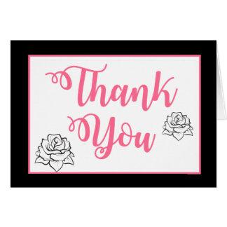 Floral Thank You Rose Flower Pink Black Wedding Card