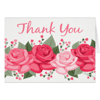 Floral Thank You Rose Flowers  Pink White  Wedding Card