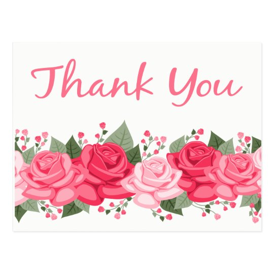 Floral Thank You Rose Flowers Pink White Wedding Postcard