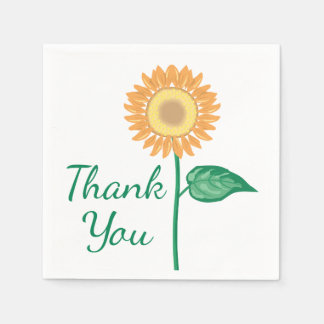Floral Thank You Sunflower Yellow Green Flower Paper Napkin