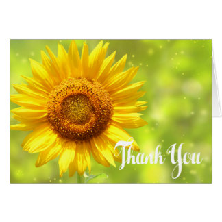 Floral Thank You Sunflower Yellow & Green Flowers Card
