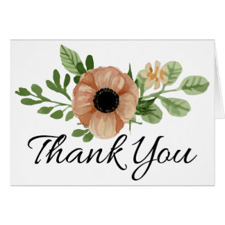 Floral Thank You Watercolor Peach Anemone Flowers Card