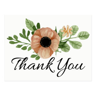 Floral Thank You Watercolor Peach Anemone Flowers Postcard
