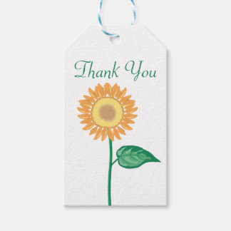 Floral Thank You Yellow Gold Sunflower Wedding Gift Tags