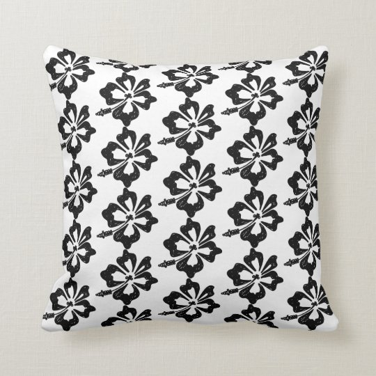 Floral throw pillow black and white