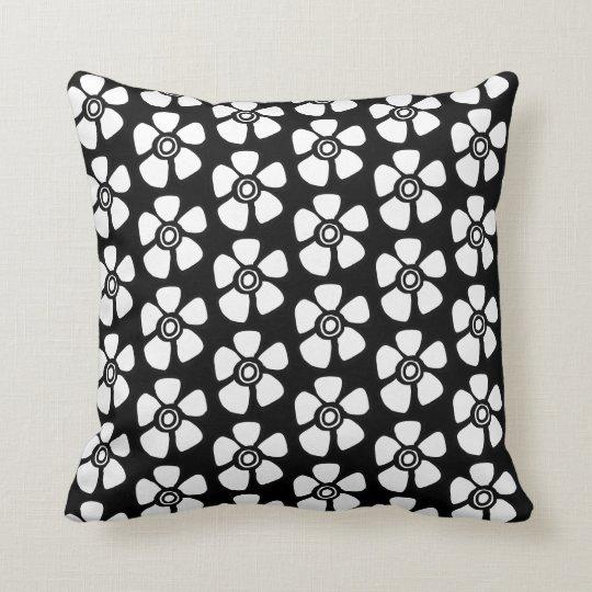 Floral throw pillow white on black