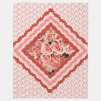 Floral Throw, Pink Roses framed in pinks & corals Fleece Blanket