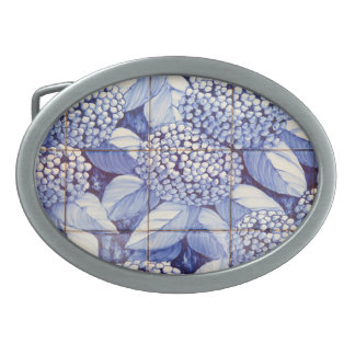 Floral tiles oval belt buckles