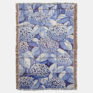 Floral tiles throw blanket