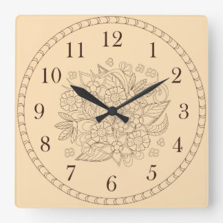 floral Time-2 Square Wall Clock