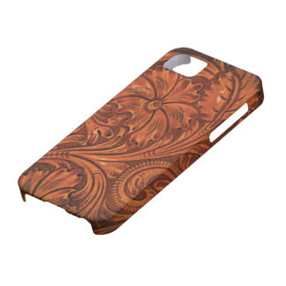 floral tooled leather style iphone case for the iPhone 5