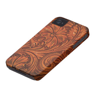 floral tooled leather style iphone iPhone 4 Case-Mate cases