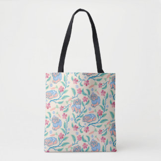 Floral tote bag and a dog named Tobi