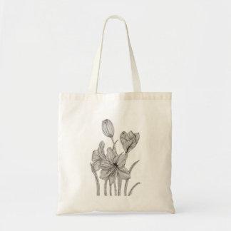 Floral Tote Bag. Monochrome