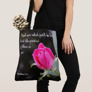 Floral tote,  pink rose, w/ verse from Corinthians Tote Bag