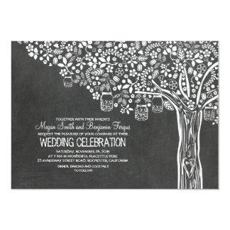 "Floral Tree Mason Jar Lights Chalkboard Wedding 5"" X 7"" Invitation Card"