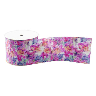 Floral trendy hand painted watercolor pattern grosgrain ribbon