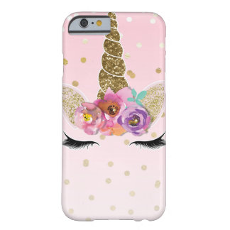 Floral Trendy Modern Unicorn Horn Gold Confetti Barely There iPhone 6 Case