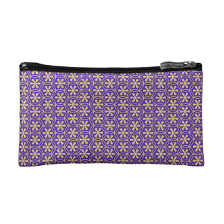 Floral,trendy,purple,gold,quatrefoil,moroccan,chic Cosmetic Bags