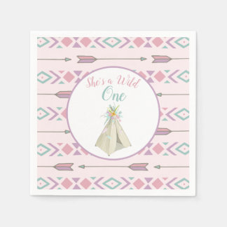 Floral Tribal Teepee Wild One 1st Birthday Paper Napkins