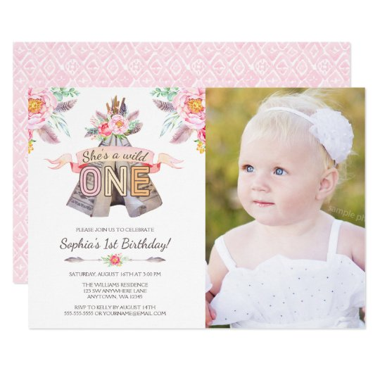 Floral Tribal Teepee Wild One 1st Birthday Photo Card